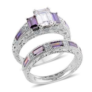 Simulated Diamond and Purple Diamond Set of Rings